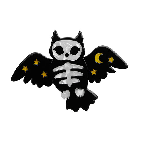 Hoot & Haunt Brooch (Erstwilder Resin Bone Brigade Brooch Halloween 2020)