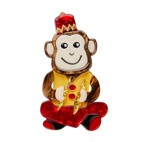 Charley Chimp Brooch (Erstwilder Resin Brooch) - Glitterally.co.uk