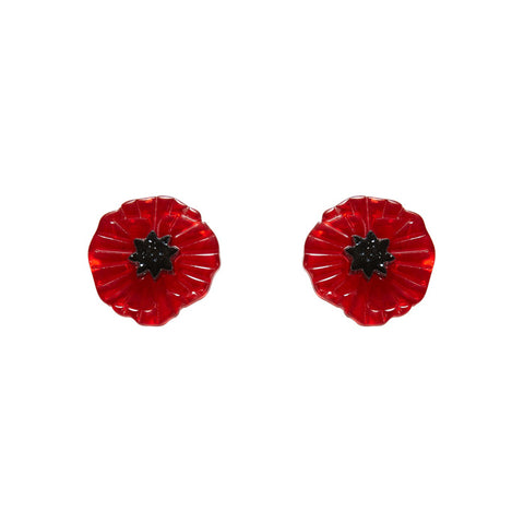 Red Poppy Field Earrings (Erstwilder Red Resin Poppy Stud Earrings) - Glitterally.co.uk