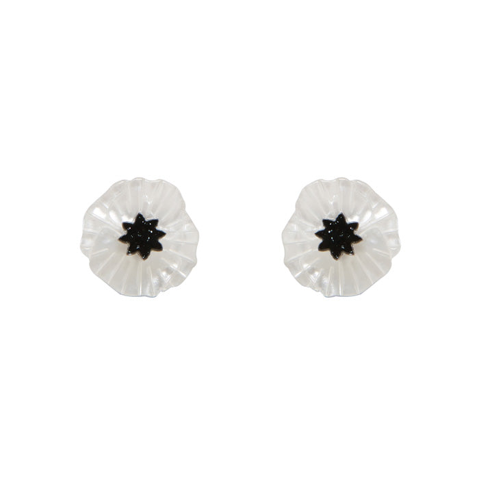 White Poppy Field Earrings (Erstwilder White Resin Poppy Stud Earrings) - Glitterally.co.uk