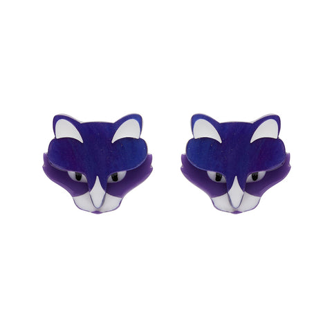 LeBeau the Luscious Earrings (Erstwilder Resin Purple Cat Earrings) - Glitterally.co.uk