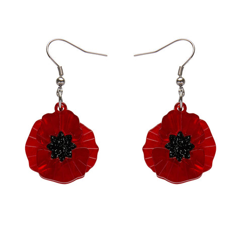 Red Poppy Field Drop Earrings (Erstwilder Red Resin Drop Earrings) - Glitterally.co.uk