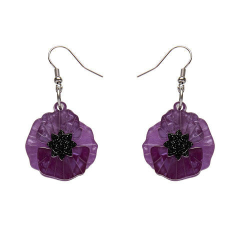 Purple Poppy Field Drop Earrings (Erstwilder Purple Resin Drop Earrings) - Glitterally.co.uk
