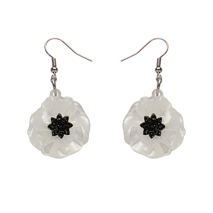 White Poppy Field Drop Earrings (Erstwilder White Resin Drop Earrings) - Glitterally.co.uk