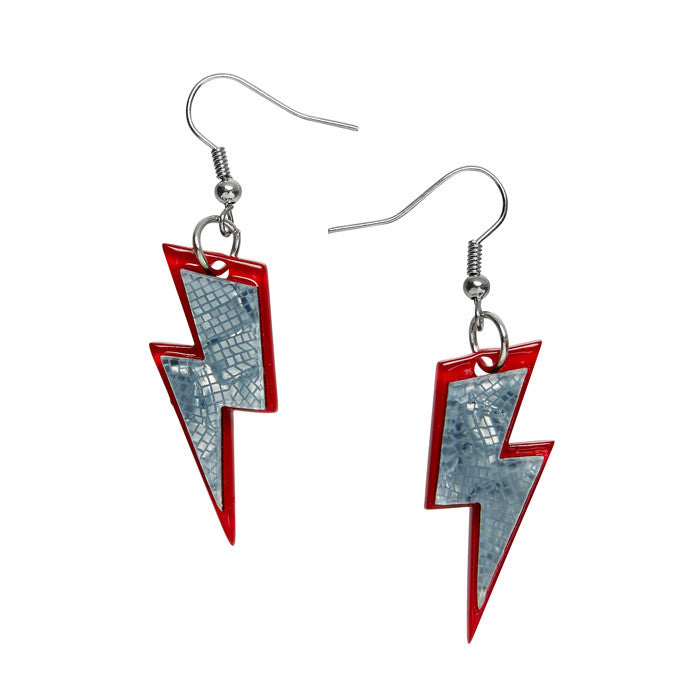 Greased Lightnin' (Erstwilder Red and Grey Resin Thunderbolt Earrings) - Glitterally.co.uk