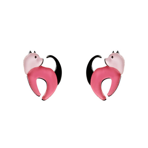 Cat Walk Stud (Erstwilder Pink Resin Cat Earrings) - Glitterally.co.uk