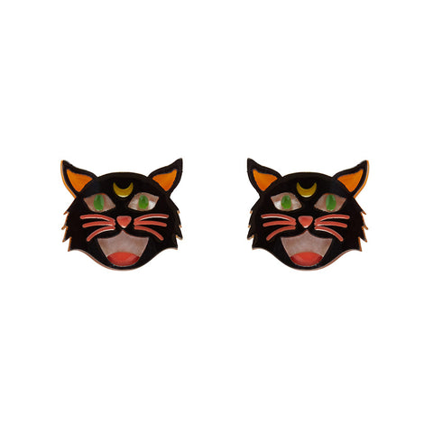 Hex Kitten Earrings (Erstwilder Resin Halloween Cat Earrings) - Glitterally.co.uk