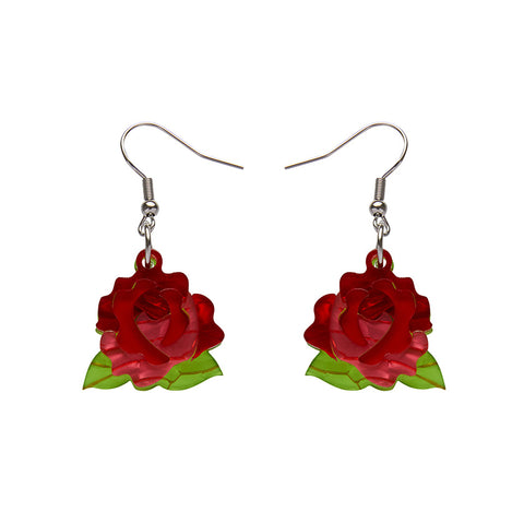 BUDDING ROMANCE ROSE DROP EARRINGS (Erstwilder resin earrings) - Glitterally.co.uk