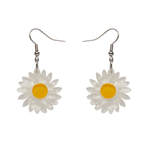 She Loves Me (Erstwilder Resin Daisy Drop Earrings) - Glitterally.co.uk