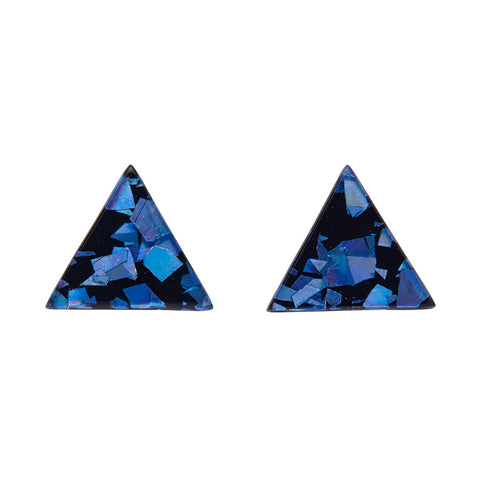Blue Chunky Glitter Triangle Studs (Erstwilder Essentials Resin Earrings) - Glitterally.co.uk