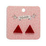 Red Textured Triangle Studs (Erstwilder Essentials Resin Earrings) - Glitterally.co.uk