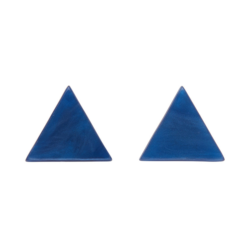 Blue Textured Triangle Studs (Erstwilder Essentials Resin Earrings) - Glitterally.co.uk
