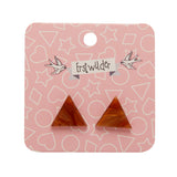 Orange Textured Triangle Studs (Erstwilder Essentials Resin Earrings) - Glitterally.co.uk