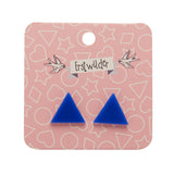 Blue Solid Triangle Studs (Erstwilder Essentials Resin Earrings) - Glitterally.co.uk