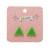 Green Solid Triangle Studs (Erstwilder Essentials Resin Earrings) - Glitterally.co.uk