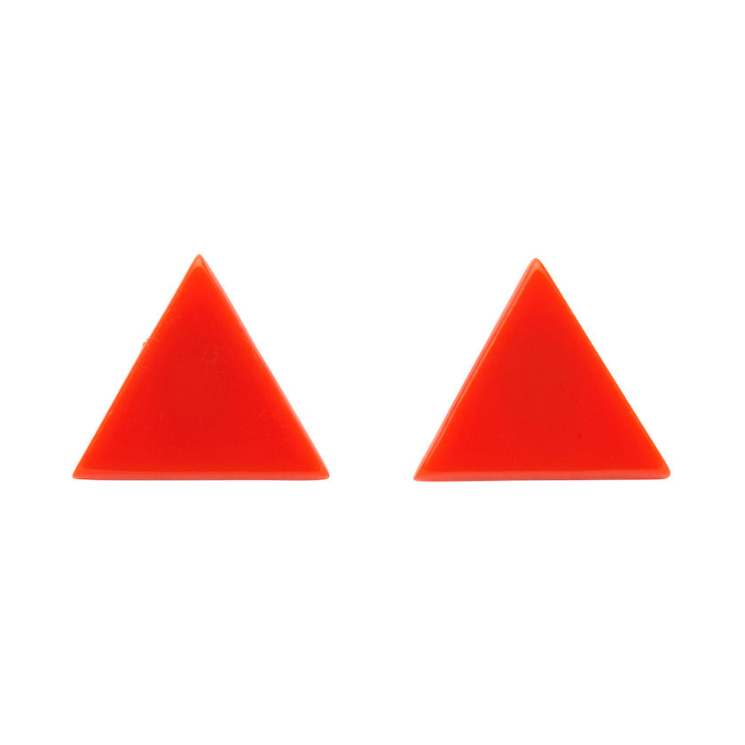 Orange Solid Triangle Studs (Erstwilder Essentials Resin Earrings) - Glitterally.co.uk