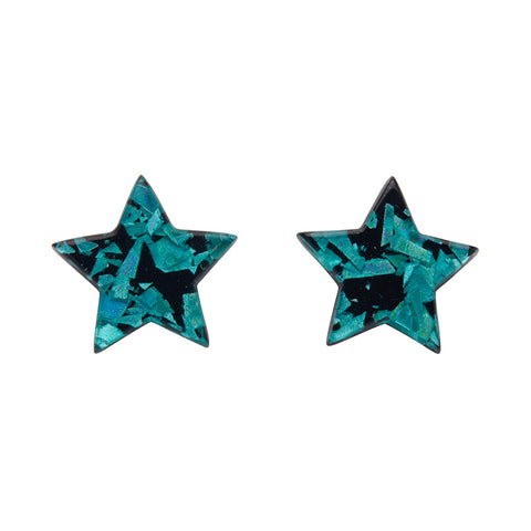 Teal Chunky Glitter Star Studs (Erstwilder Essentials Resin Earrings)