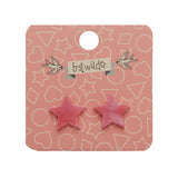 STAR MARBLE RESIN STUD EARRINGS - PINK (Erstwilder Pete Cromer Essentials) - Glitterally.co.uk