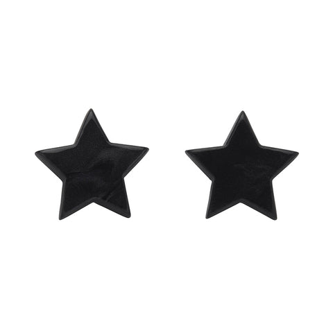 Black Textured Star Studs (Erstwilder Essentials Resin Earrings) - Glitterally.co.uk