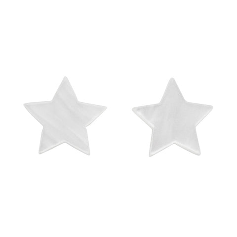 White Textured Star Studs (Erstwilder Essentials Resin Earrings) - Glitterally.co.uk