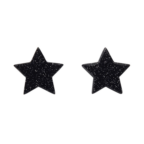 Black Glitter Star Studs (Erstwilder Essentials Resin Earrings) - Glitterally.co.uk