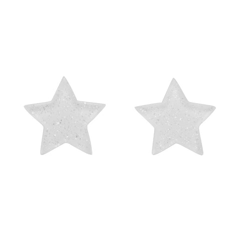 White Glitter Star Studs (Erstwilder Essentials Resin Earrings) - Glitterally.co.uk