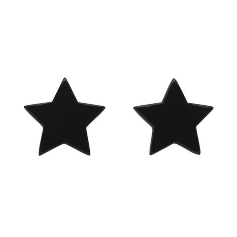 Black Solid Star Studs (Erstwilder Essentials Resin Earrings) - Glitterally.co.uk