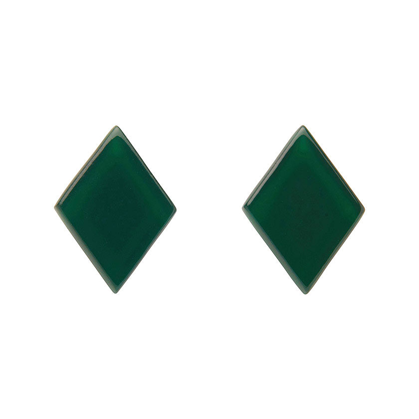 Emerald Bubble Diamond-Shaped Studs (Erstwilder Essentials Resin Earrings) - Glitterally.co.uk