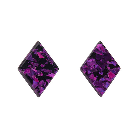 Fuschia Chunky Glitter Diamond-Shaped Studs (Erstwilder Essentials Resin Earrings) - Glitterally.co.uk