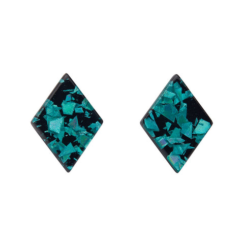 Teal Chunky Glitter Diamond-Shaped Studs (Erstwilder Essentials Resin Earrings) - Glitterally.co.uk