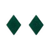 Emerald Glitter Diamond-Shaped Studs (Erstwilder Essentials Resin Earrings) - Glitterally.co.uk