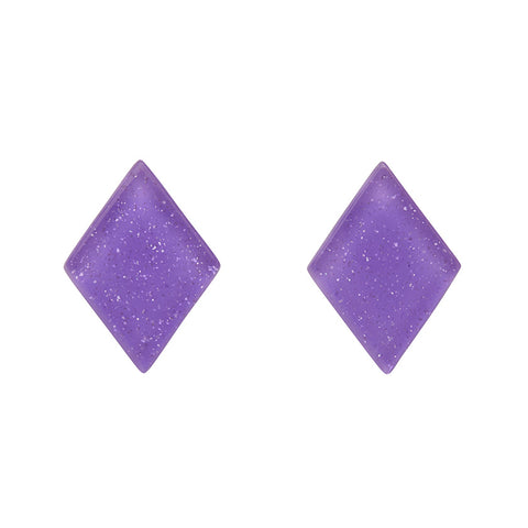 Lavender Glitter Diamond-Shaped Studs (Erstwilder Essentials Resin Earrings) - Glitterally.co.uk
