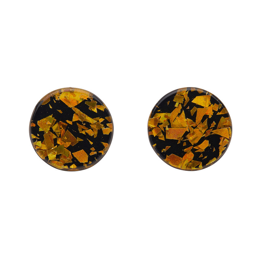 Yellow Chunky Glitter Circle Studs (Erstwilder Essentials Resin Earrings)