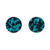 Circle Chunky Glitter Resin Stud Earrings - Teal  (Erstwilder Art Nouveau Essentials)