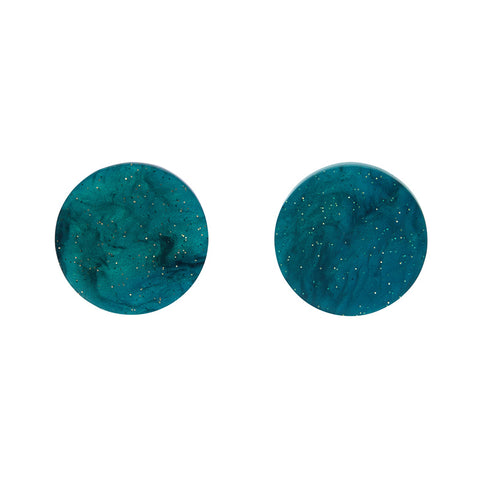 Circle Ripple Glitter Resin Stud Earrings - Emerald  (Erstwilder Art Nouveau Essentials)