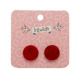 Red Textured Circle Studs (Erstwilder Essentials Resin Earrings) - Glitterally.co.uk