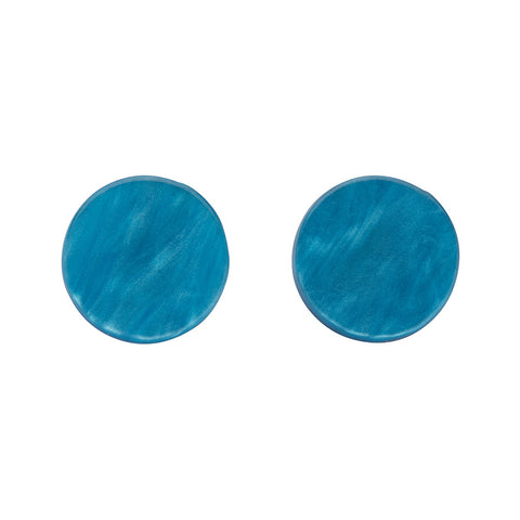 Teal Textured Circle Studs (Erstwilder Essentials Resin Earrings)