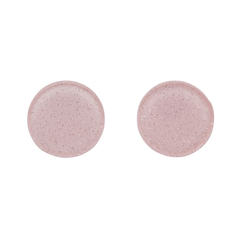 Light Pink Glitter Circle Studs (Erstwilder Essentials Resin Earrings) - Glitterally.co.uk