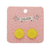 Yellow Glitter Circle Studs (Erstwilder Essentials Resin Earrings) - Glitterally.co.uk