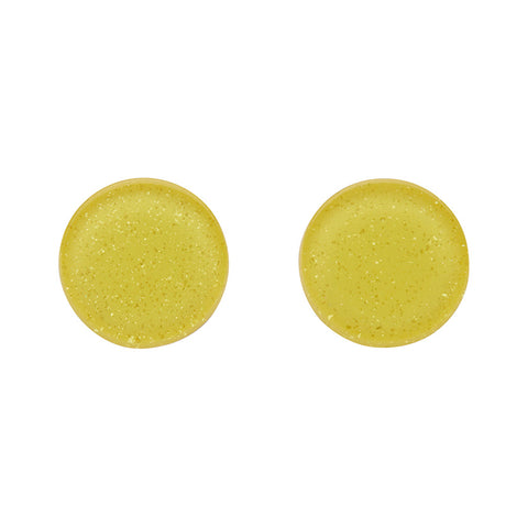 Yellow Glitter Circle Studs (Erstwilder Essentials Resin Earrings)