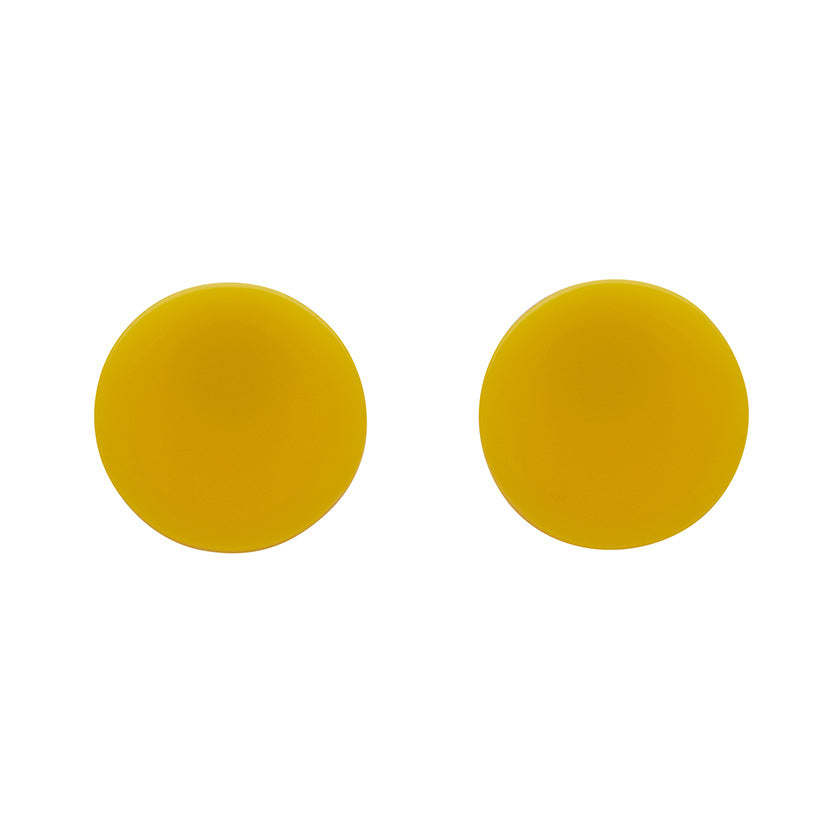 Yellow Solid Circle Studs (Erstwilder Essentials Resin Earrings)