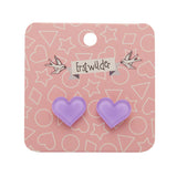 Lavender Bubble Heart Studs (Erstwilder Essentials Resin Earrings) - Glitterally.co.uk