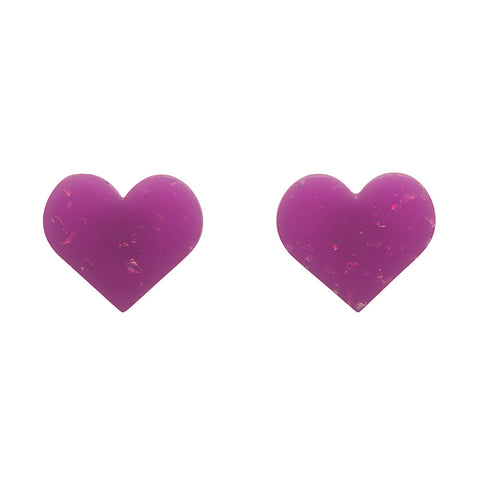 HEART GLITTER RESIN STUD EARRINGS - PURPLE (Erstwilder Pete Cromer Essentials) - Glitterally.co.uk