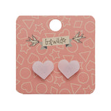 HEART SOLID GLITTER RESIN STUD EARRINGS - WHITE (Erstwilder Pete Cromer Essentials) - Glitterally.co.uk