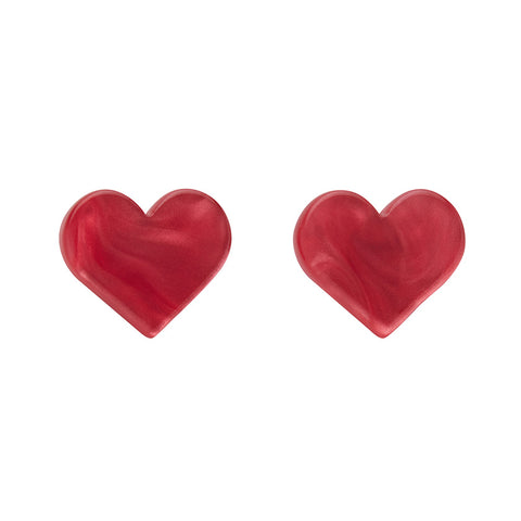 Pink Textured Heart Studs (Erstwilder Essentials Resin Earrings) - Glitterally.co.uk