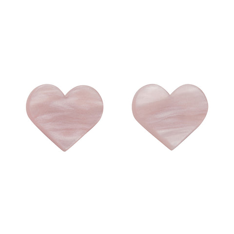Light Pink Textured Heart Studs (Erstwilder Essentials Resin Earrings) - Glitterally.co.uk