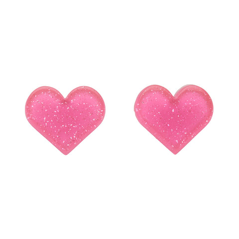 Pink Glitter Heart Studs (Erstwilder Essentials Resin Earrings) - Glitterally.co.uk