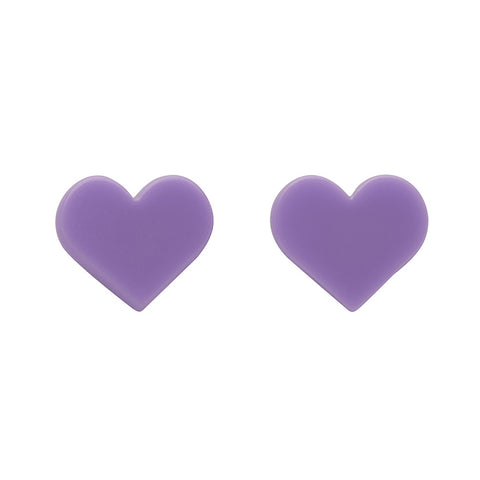 Lavender Heart Solid Studs (Erstwilder Essentials Resin Earrings) - Glitterally.co.uk