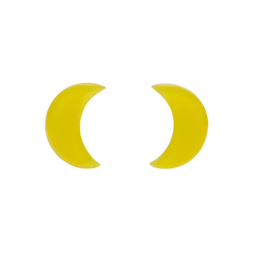 Yellow Crescent Moon Bubble Resin Stud Earrings (Erstwilder Halloween Essentials) - Glitterally.co.uk