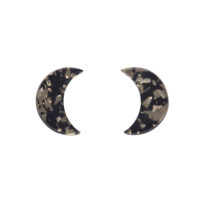 Gold Crescent Moon Chunky Glitter Resin Stud Earrings (Erstwilder Halloween Essentials) - Glitterally.co.uk
